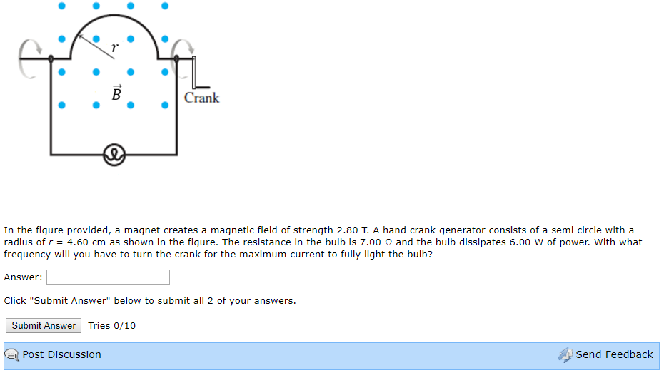 crank in the figure provided, a magnet creates a magnetic field of strength  2 80 t