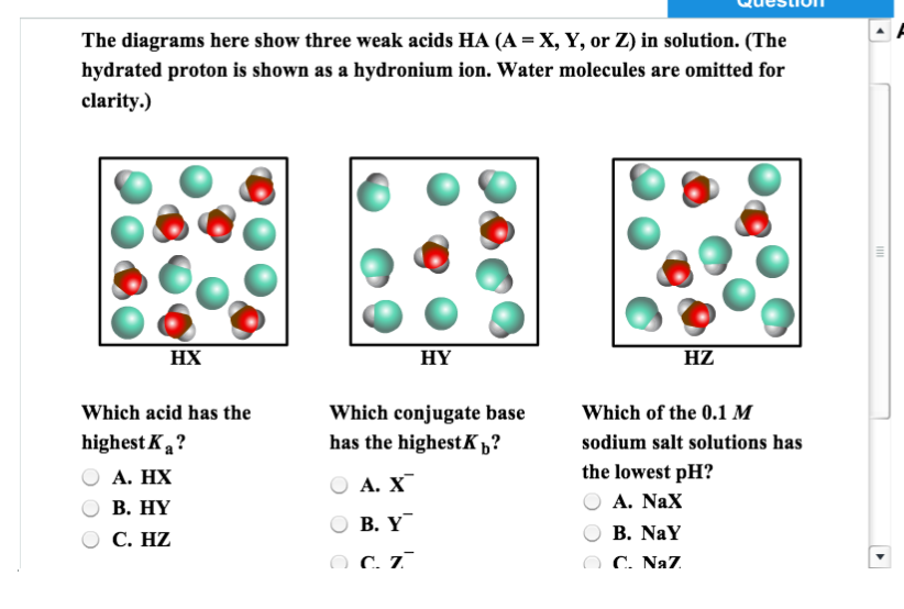 Solved The Diagrams Here Show Three Weak Acids Ha A X Y