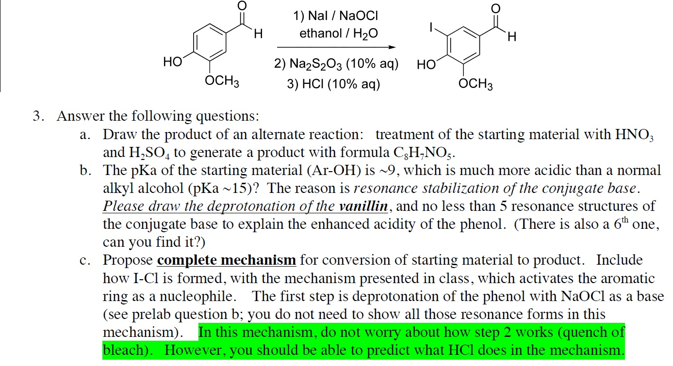 electrophilic aromatic iodination of vanillin Student name crn and section professor date performed lab report for experiment 5 greener electrophilic aromatic substitution of 5-iodovanilliin purpose: to synthesize 5-iodovanillin from a greener electrophilic aromatic substitution reaction of vanillin.