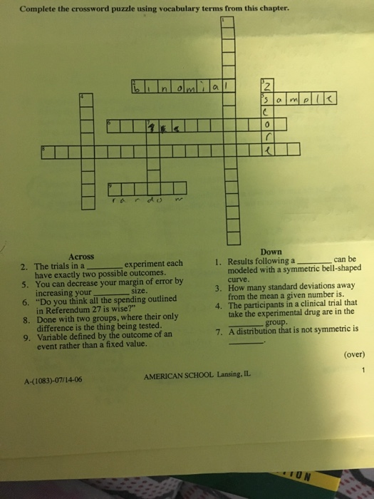 Complete The Crossword Puzzle Using Vocabulary Ter