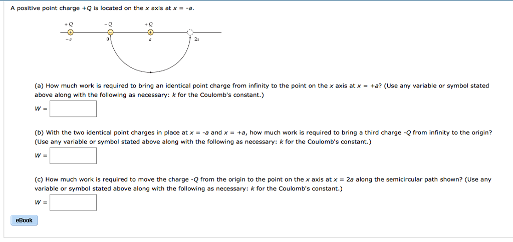 Solved A Positive Point Charge Q Is Located On The X Axi