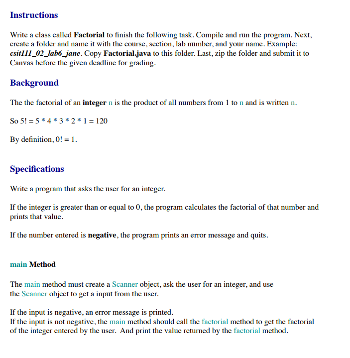 Solved Instructions Write A Class Called Factorial To Fin