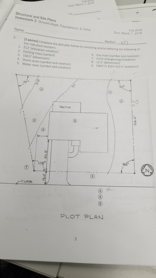 Solved Fal 20 Due March 1 2018 Structural And Site Plan – Plot Plan And Site Plan