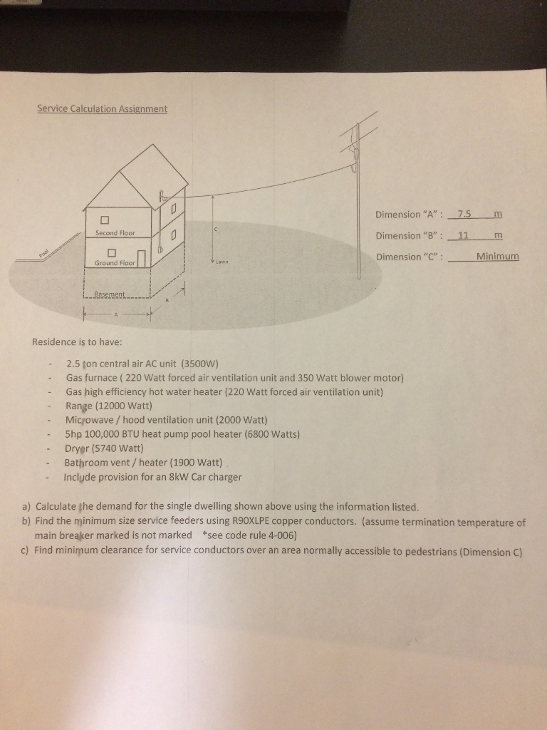 Solved: Service Calculation Assignment Second Floor Dimens