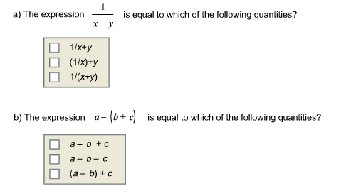 Question The Expression 1 X Y Is Equal To Which Of The Following Quan Ies The Expression A B C