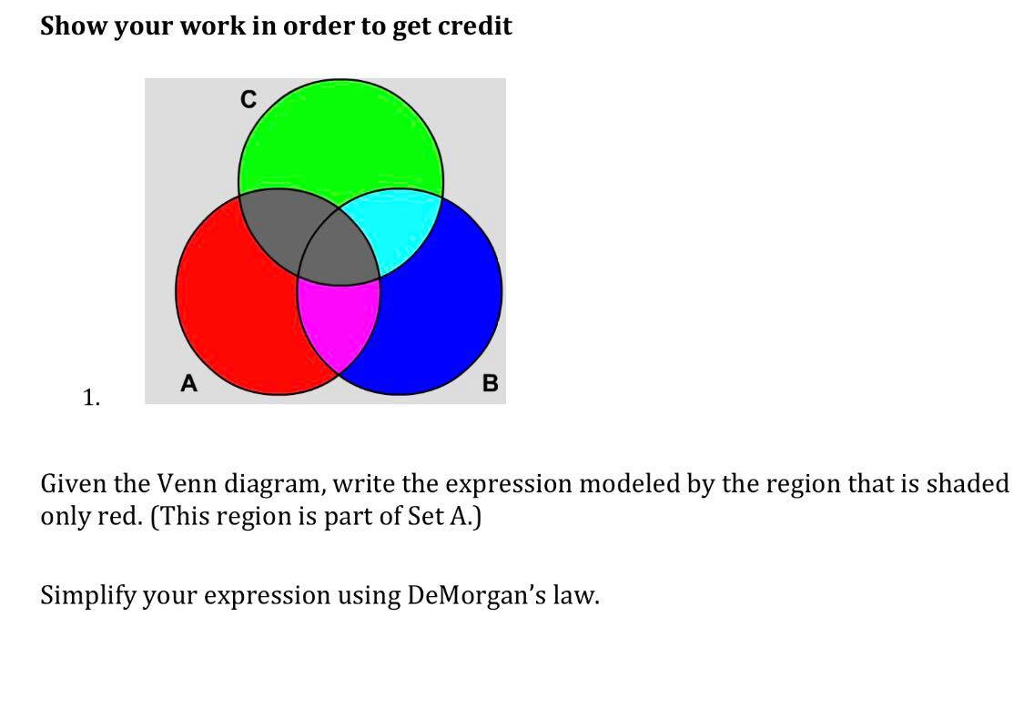 Solved Show Your Work In Order To Get Credit 1 Given The