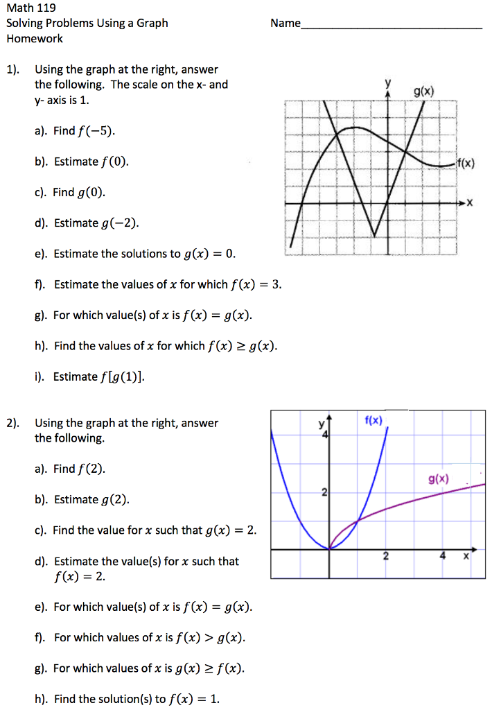 Solved: Math 119 Solving Problems Using A Graph Name Homew ...