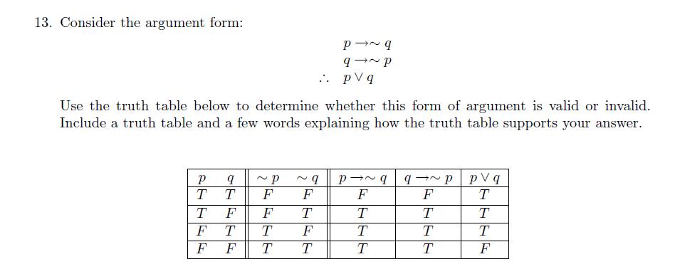 Solved Consider The Argument Form P Rightarrow Tilde Q Q Chegg Com