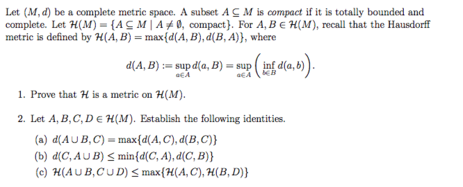 Let M D Be A Complete Metric Space A Subset Ac Chegg Com