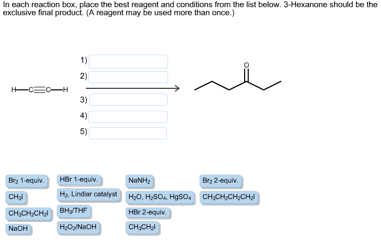 in each reaction box place the best reagent and conditions from the list below oh - photo #17