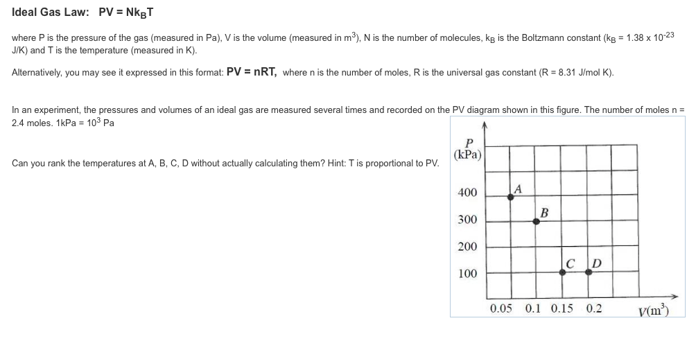 Solved: A) Calculate The Temperature Of The Ideal Gas At P