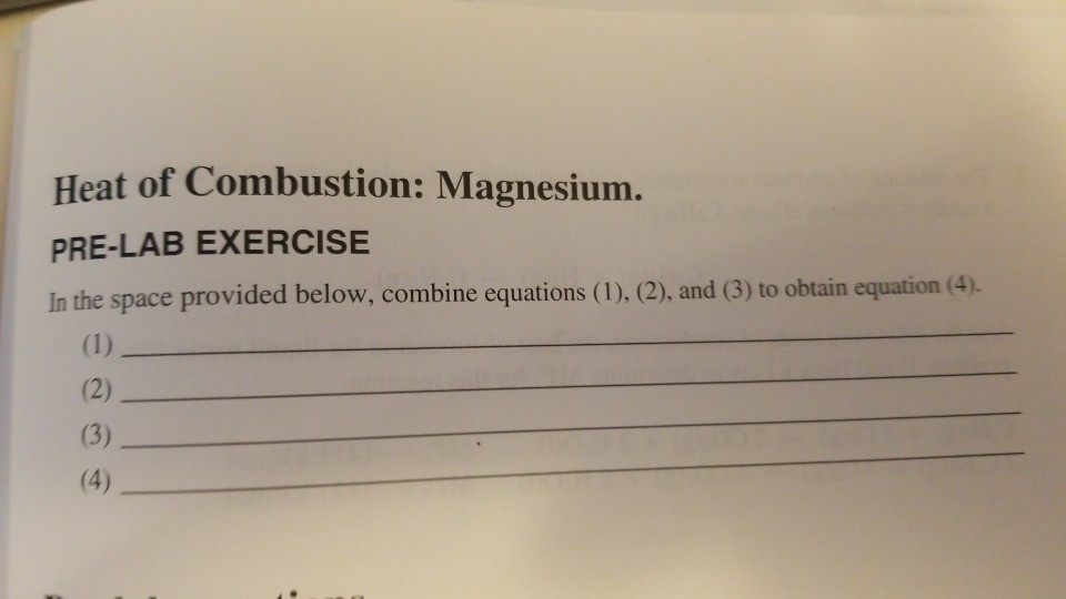 heat of combustion of magnesium