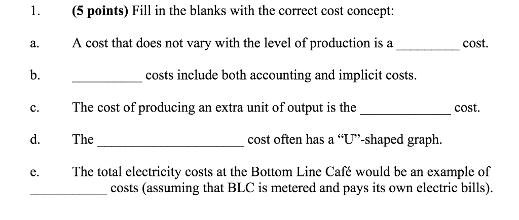 solved fill in the blanks with the correct cost concept