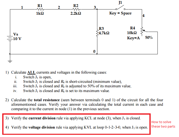 Solved calculate all currents and voltages in the followi question calculate all currents and voltages in the following cases switch j1 is open switch j1 is cl publicscrutiny Gallery