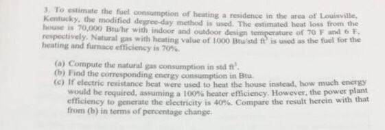 To Estimate The Fuel Consumption Of Heating A Resi