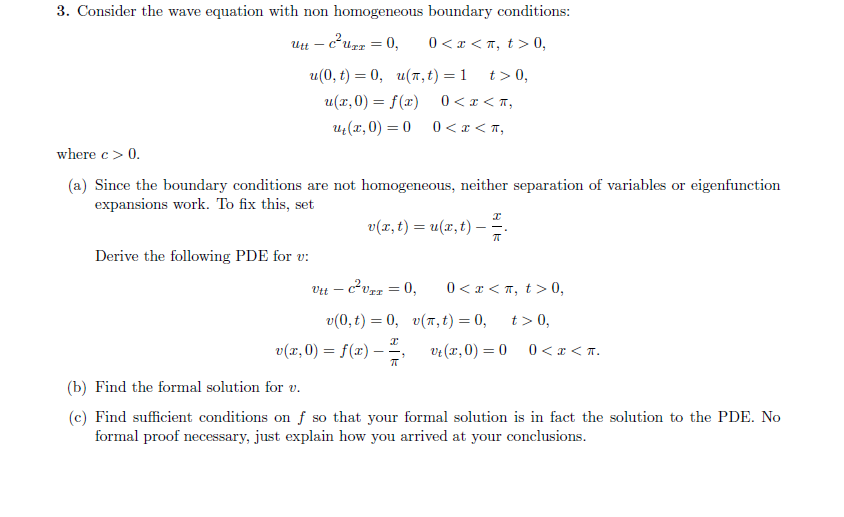 Consider The Wave Equation With Non Homogeneous Bo    | Chegg com