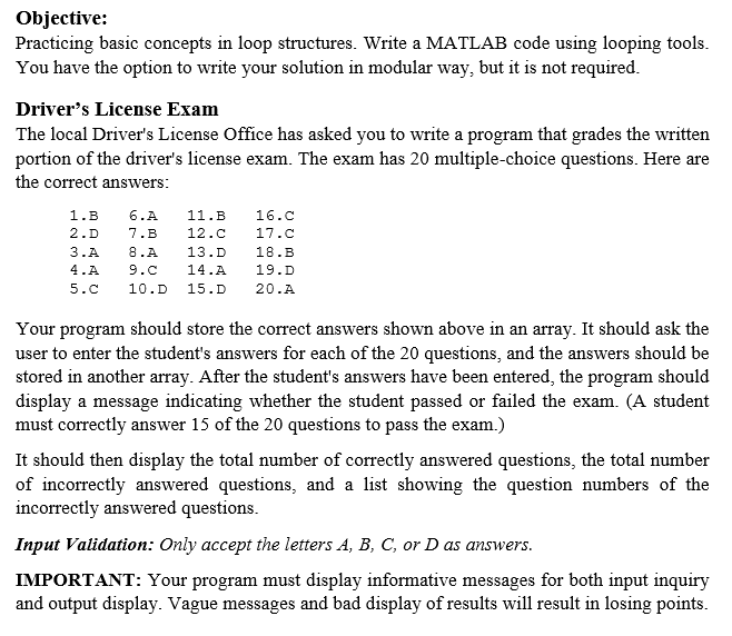 Solved: Objective: Practicing Basic Concepts In Loop Struc