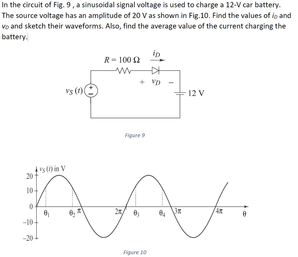 Solved In The Circuit Of Fig 9 A Sinusoidal Signal Volt Charging Battery Voltage Is Used To Charge