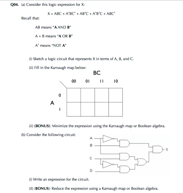 Solved: Consider This Logic Expression For X: X = ABC + AB ... on