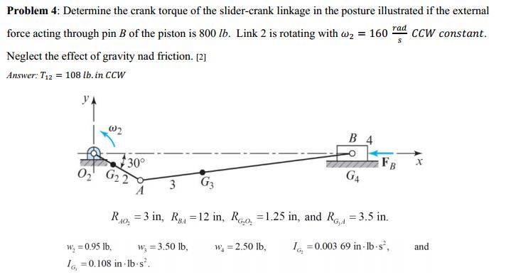 Determine The Crank Torque Of The Slider-crank Lin