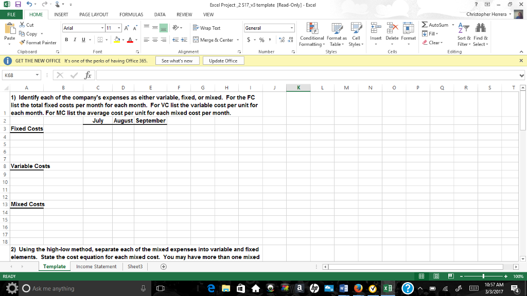 Solved Excel Project 2 S17 V3template Read Only Excel E