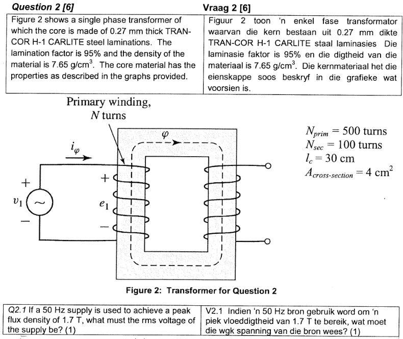 Question 2 [6] Figure 2 shows a single phase transformer of which the core is made of 0.27 mm thick TRAN- waarvan die kern bestaanui 0.27 mm dikte COR H-1 CARLITE steel laminations. The lamination factor is 95% and the density of the material is 7.65 g/cm3. The core material has the materiaal is 7.65 g/cm3. Die kernmateriaal het die properties as described in the graphs provided. eienskappe soos beskryf in die grafieke wat Vraag 2 [6] Figuur 2 toon 'n enkel fase transformator TRAN-COR H-1 CARLITE staal laminasies Die laminasie faktor is 95% en die digtheid van die voorsien is Primary winding, N turns prim N 100 turns =30 cm 4 cm cross-section Figure 2: Transformer for Question 2 Q2.1 If a 50 Hz supply is used to achieve a peak V2.1 Indien n 50 Hz bron gebruik word omn flux density of 1.7 T, what must the rms voltage of piek vloeddigtheid van 1.7 T te bereik, wat moet the supply be? (1 die wgk spanning van die bron wees? (1