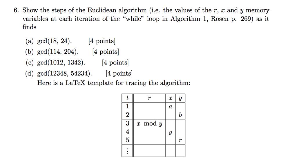 Solved: 6  Show The Steps Of The Euclidean Algorithm (i e
