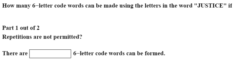 solved: how many 6-letter code words can be made using the