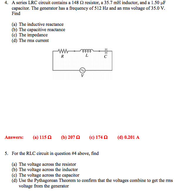 Pleasant Solved A Series Lrc Circuit Contains A 148 Ohm Resistor Wiring Cloud Pendufoxcilixyz
