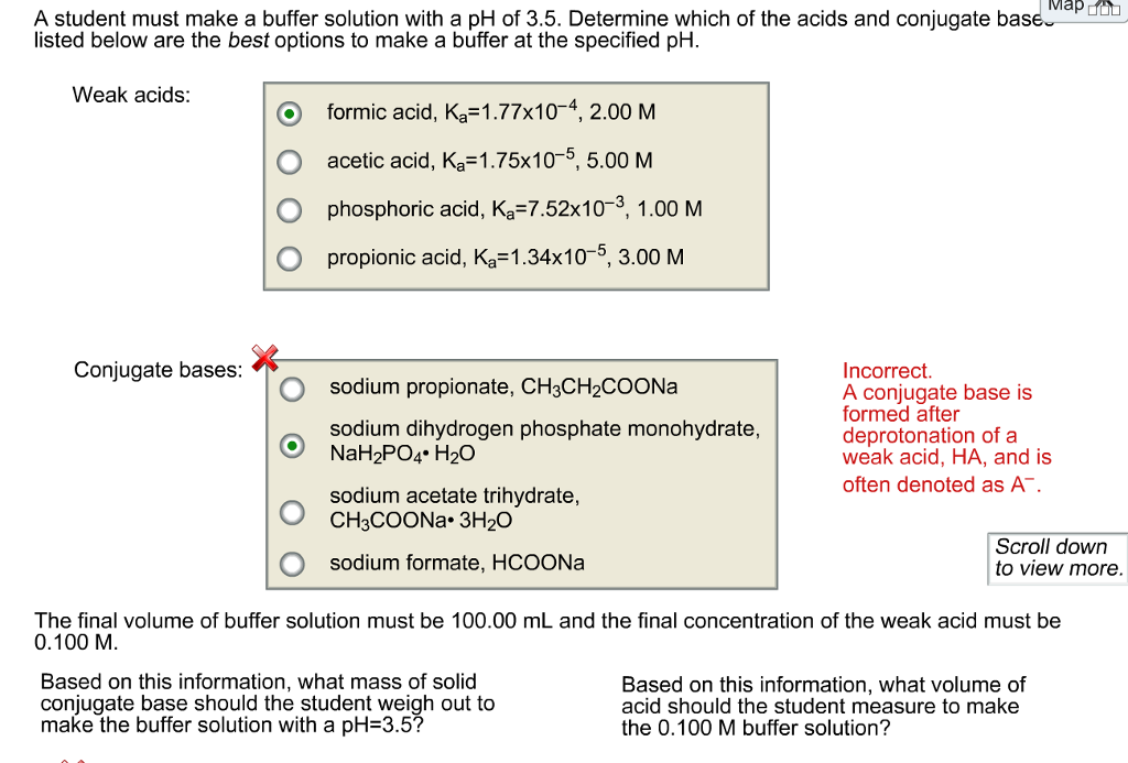 Solved A Student Must Make A Buffer Solution With A Ph Of Chegg Com