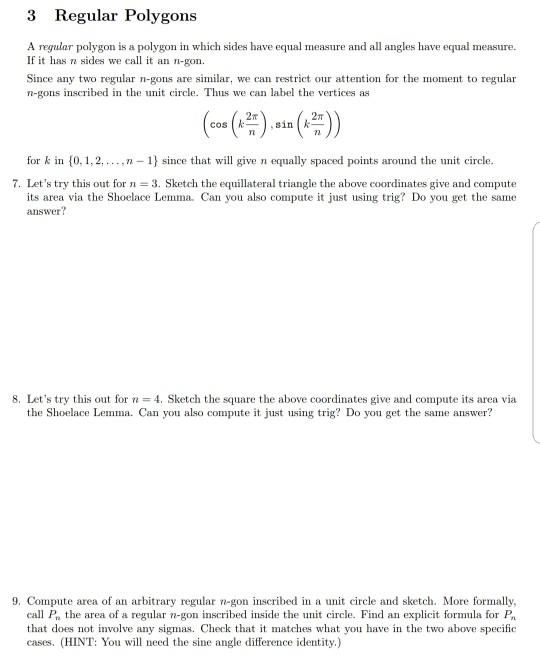 Solved 3 Regular Polygons A Regular Polygon Is A Polygon