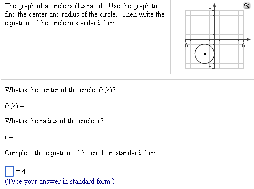 Image for The graph of a circle is illustrated. Use the graph to find the center and radius of the circle. Then write th