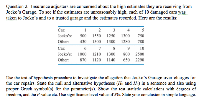 Solved Question 2 Insurance Adjusters Are Concerned Abou