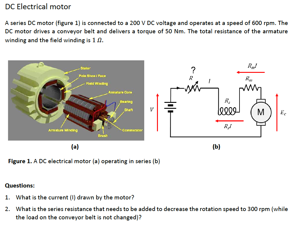electric motor brush diagram direct current motor dc electrical motor series figure 1 is connected to 200 solved motor series