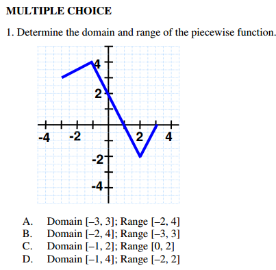 determine the domain and range of the piecewise function a