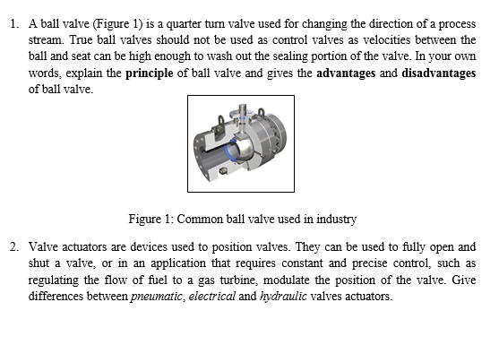 Solved: 1  A Ball Valve (Figure 1) Is A Quarter Turn Valve