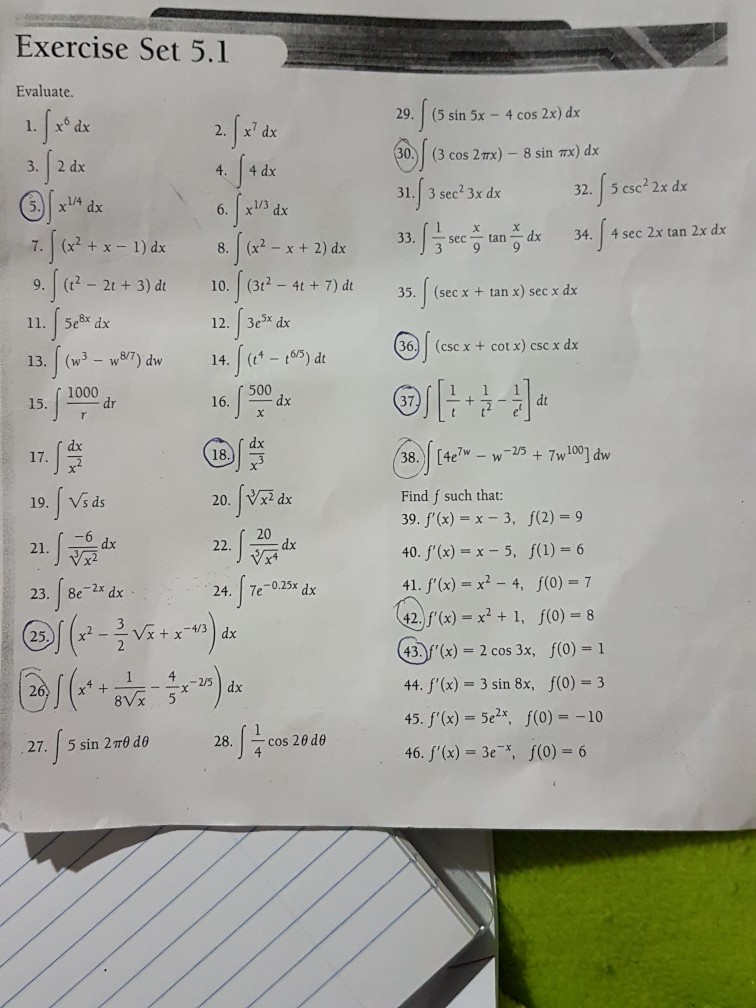 solved exercise set 5 1 evaluate 29 5 sin 5x 4 cos 2x rh chegg com