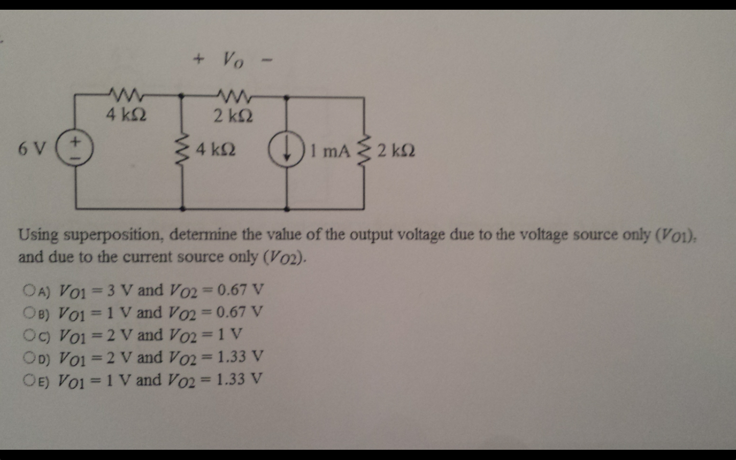 Solved Using Thevenins Theorem Find The Open Circuit Vo Ac Thevenin Equivalent With Current And Voltage Source Question Vth Between Terminals A B S