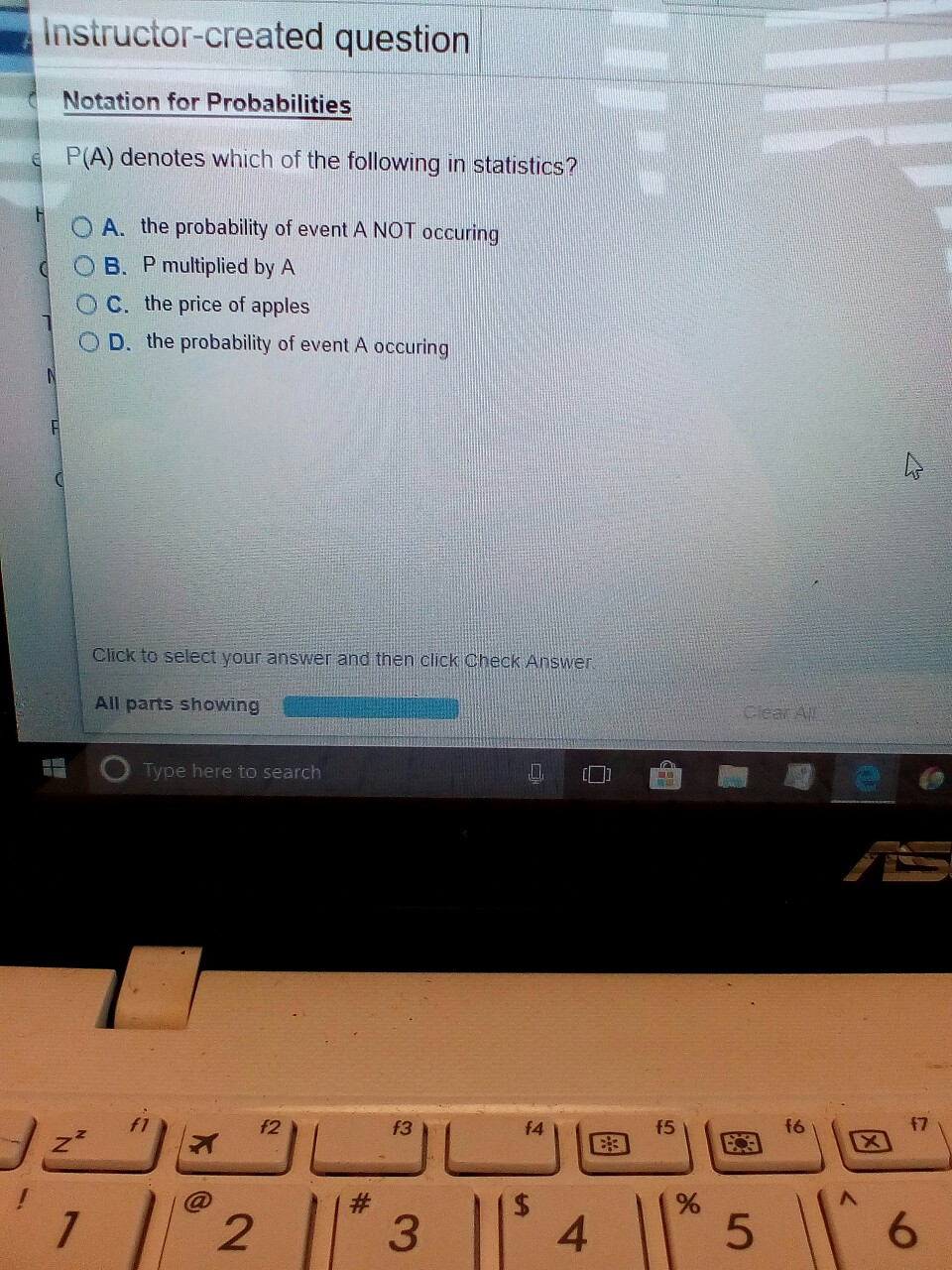 instructor created question Notation for Probabilities PA denotes