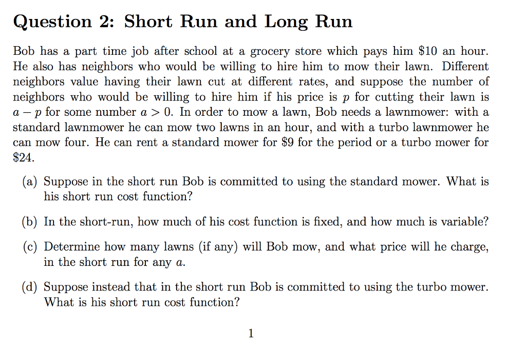 difference between short run and long run costs
