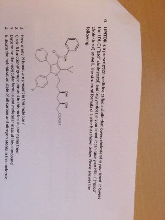Solved Lipitor Is A Prescription Medicine Called A Stat I
