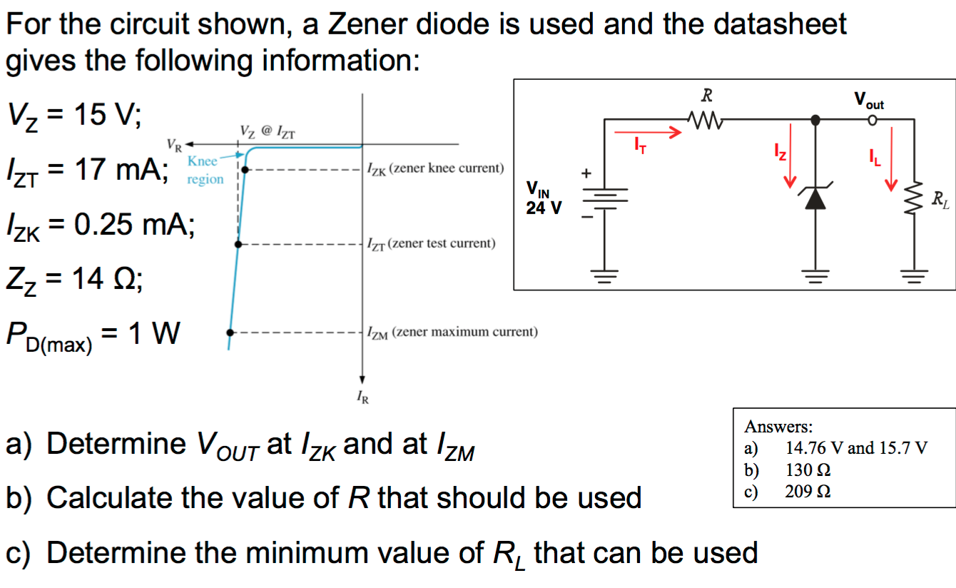 Solved For The Circuit Shown A Zener Diode Is Used And T Circuits