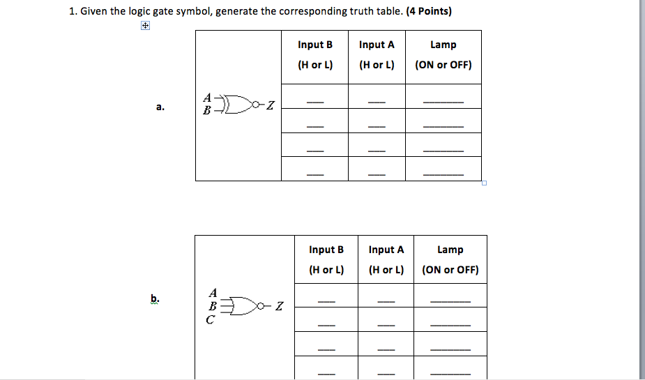Solved 1 Given The Logic Gate Symbol Generate The Corre