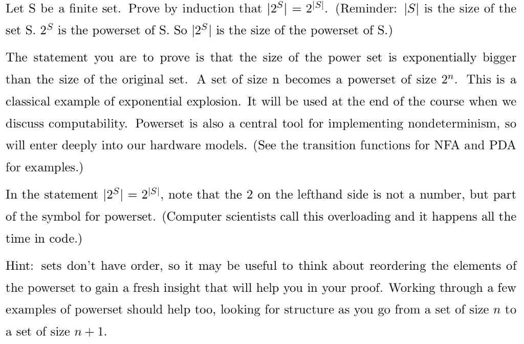 Let S Be A Finite Set Prove By Induction That 25 Chegg