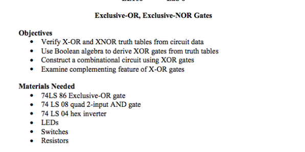 Solved Exclusive Or Exclusive Nor Gates Objectives Veri