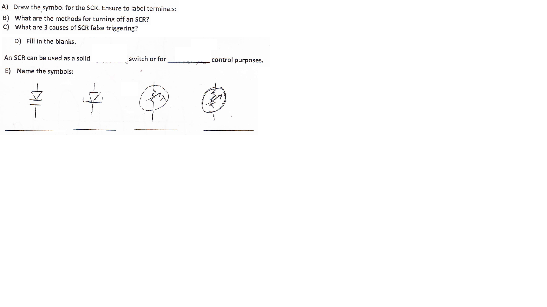 Solved A Draw The Symbol For The Scr Ensure To Label Te