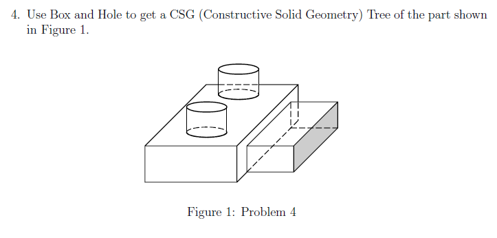Solved 4 use box and hole to get a csg constructive sol use box and hole to get a csg constructive solid geometry tree ccuart Images