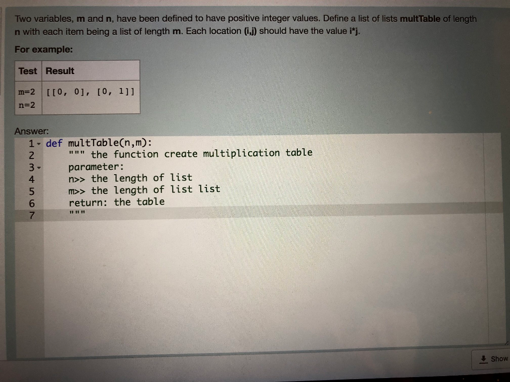 Python 36 the answer should apply lists to create chegg two variables m and n have been defined to have positive integer values gamestrikefo Images