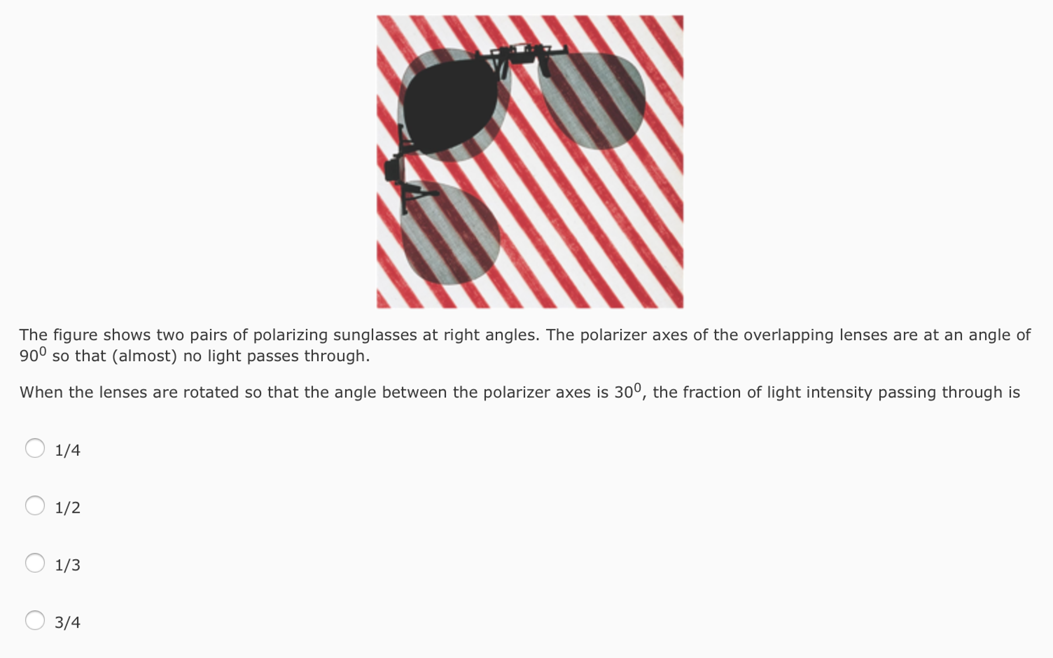 f4d1696e934 Question  The figure shows two pairs of polarizing sunglasses at right  angles. The polarizer axes of the ov.