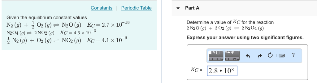 Solved Constants Periodic Table Part A Given The Equil